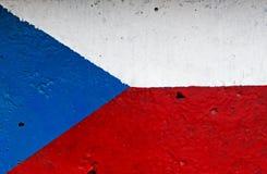 Bandiera della repubblica Ceca sul muro di cemento Immagini Stock
