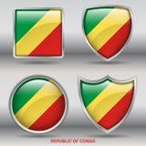 Bandiera della Repubblica del Congo in una raccolta di 4 forme con il percorso di ritaglio Immagine Stock