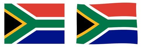 Bandiera della Repubblica Sudafricana RSA Versione semplice e leggermente d'ondeggiamento illustrazione di stock