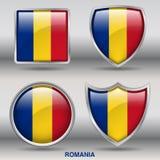Bandiera della Romania in una raccolta di 4 forme con il percorso di ritaglio Immagine Stock