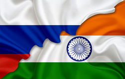 Bandiera della Russia e bandiera dell'India illustrazione di stock