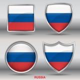 Bandiera della Russia in una raccolta di 4 forme con il percorso di ritaglio Fotografia Stock