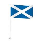Bandiera della Scozia che ondeggia su un palo metallico illustrazione di stock