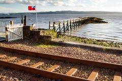 Bandiera della Scozia sul pilastro di Culross Fotografie Stock