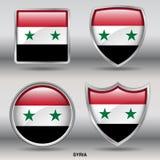 Bandiera della Siria in una raccolta di 4 forme con il percorso di ritaglio Immagini Stock Libere da Diritti