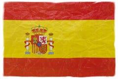 Bandiera della Spagna su bianco Fotografia Stock Libera da Diritti