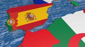 Bandiera della Spagna sulla mappa 3d stock footage
