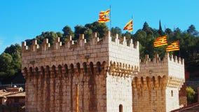 Bandiera della Spagna sulla torre Fotografia Stock Libera da Diritti