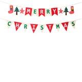 Bandiera della stamina di Buon Natale isolata su fondo bianco Immagini Stock