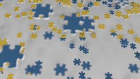 Bandiera della Svezia che è fatta con i pezzi del puzzle Animazione concettuale 3D della soluzione svedese di problema archivi video