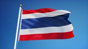 Bandiera della Tailandia al rallentatore senza cuciture avvolta con l'alfa stock footage