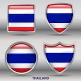 Bandiera della Tailandia in una raccolta di 4 forme con il percorso di ritaglio Immagine Stock Libera da Diritti