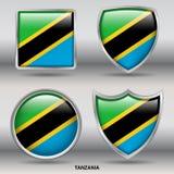Bandiera della Tanzania in una raccolta di 4 forme con il percorso di ritaglio Fotografie Stock