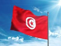 Bandiera della Tunisia che ondeggia nel cielo blu Immagine Stock