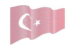 Bandiera della Turchia su fondo bianco Bande bandiera, linea di Wave Fotografia Stock Libera da Diritti