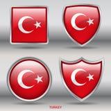 Bandiera della Turchia in una raccolta di 4 forme con il percorso di ritaglio Immagine Stock
