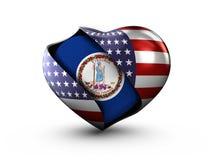 Bandiera della Virginia dello stato di U.S.A. su fondo bianco Immagini Stock