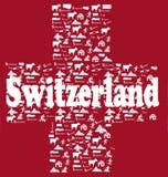 Bandiera delle icone della Svizzera Fotografia Stock