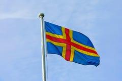 Bandiera delle isole di Aland. Fotografie Stock