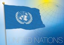 Bandiera delle nazioni unite dell'ONU Fotografia Stock Libera da Diritti