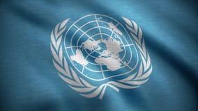 Bandiera delle nazioni unite La bandiera delle nazioni unite che ondeggia nel vento Bandiera internazionale dell'ONU illustrazione vettoriale