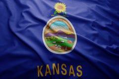 Bandiera dello stato di Kansas Immagine Stock Libera da Diritti