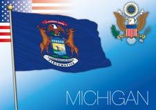 Bandiera dello stato federale del Michigan, Stati Uniti illustrazione di stock