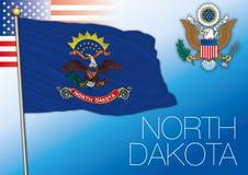Bandiera dello stato federale del Nord Dakota, Stati Uniti illustrazione vettoriale