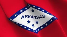 Bandiera dello stato USA dell'Arkansas che ondeggia sul vento illustrazione vettoriale