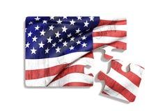 Bandiera di Americal sull'insieme di puzzle Fotografie Stock Libere da Diritti