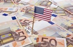 Bandiera di attaccare indefinito in 50 euro banconote (serie) Fotografia Stock