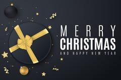 Bandiera di Buon Natale Contenitore di regalo nero con un nastro dell'oro Sfere di natale Coriandoli con la serpentina Stelle dor illustrazione di stock