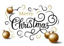 Bandiera di Buon Natale La calligrafia del Faux con le palle e l'oro di natale fiorisce Fotografia Stock