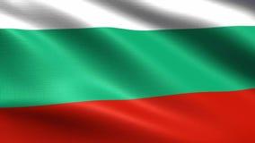 Bandiera di ciclaggio 4K della Bulgaria, con struttura d'ondeggiamento del tessuto royalty illustrazione gratis
