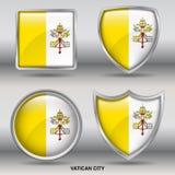 Bandiera di Città del Vaticano in una raccolta di 4 forme con il percorso di ritaglio Fotografia Stock Libera da Diritti