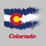 Bandiera di colore di stile della spazzola di Colorado, tre bande orizzontali di blu, di bianco ed il blu Sopra queste bande si s illustrazione vettoriale