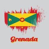 Bandiera di colore di stile della spazzola della Granada, confine rosso con sei stelle d'oro, oro ed i triangoli verdi con il dis illustrazione vettoriale