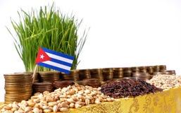 Bandiera di Cuba che ondeggia con la pila di monete dei soldi ed i mucchi di grano Fotografia Stock Libera da Diritti