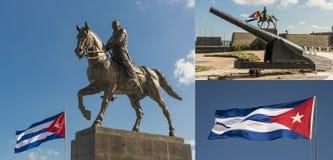 Bandiera di Cuba e monumento di Calixto Garcia Havana Fotografia Stock Libera da Diritti