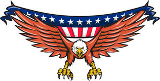 Bandiera di Eagle Swooping U.S.A. dell'americano retro Immagine Stock