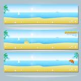 Bandiera di estate con la spiaggia Immagini Stock