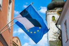 Bandiera di Europa e dell'Estonia fotografie stock libere da diritti