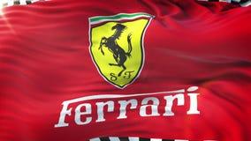 Bandiera di Ferrari che ondeggia sul sole Ciclo senza cuciture con struttura altamente dettagliata del tessuto Ciclo pronto nella