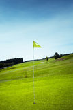 Bandiera di golf in foro verde Immagine Stock Libera da Diritti