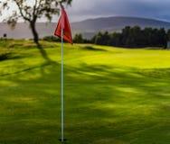 Bandiera di golf sul campo da golf di campionato della valle di Spey, Aviemore fotografia stock libera da diritti