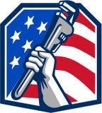 Bandiera di Hand Pipe Wrench U.S.A. dell'idraulico retro Fotografie Stock