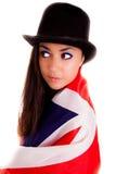 Bandiera di inglese della ragazza isolata su fondo bianco Gran-Bretagna Immagini Stock