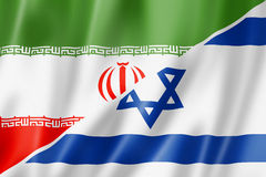 Bandiera di Israele e dell'Iran Fotografie Stock Libere da Diritti