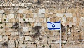 Bandiera di Israele sui precedenti della parete occidentale fotografia stock libera da diritti