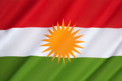 Bandiera di Kurdistan Fotografie Stock